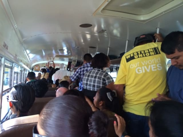 crowded bus in belize
