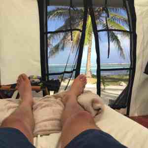 beach camping belize at Glovers Reef
