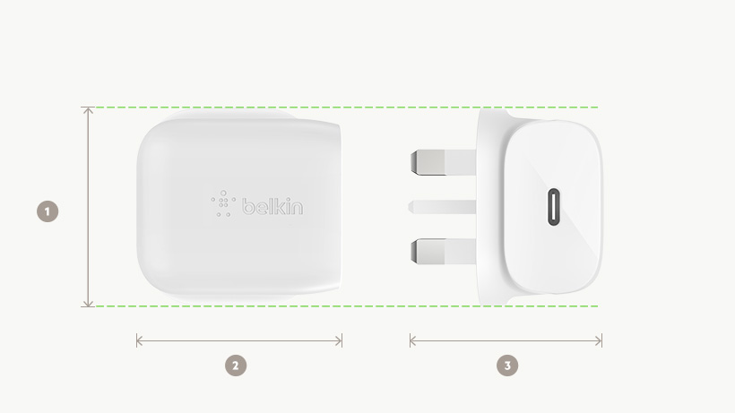 BOOST↑CHARGE USB-C Wall Charger dimensions diagram