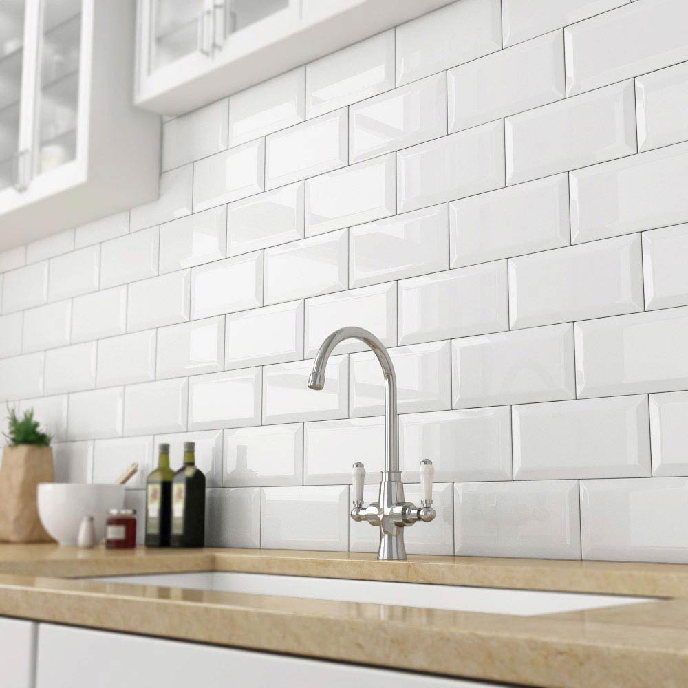 using bevel subway tiles in kitchen and