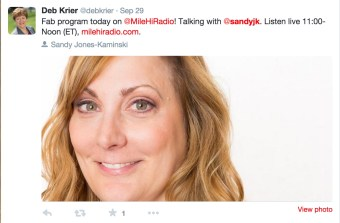Podcast host praise for Sandy Jones-Kaminski