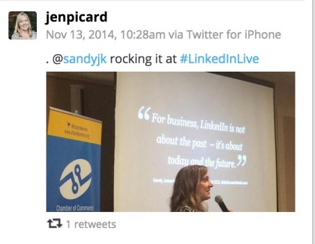 Jen Picard tweet - Sandy Rocking it at LinkedIn Live