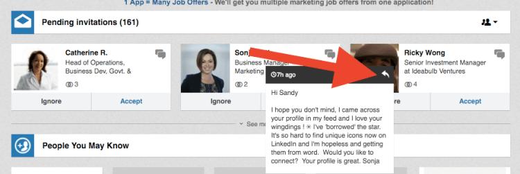 LinkedIn inbox reply w-o accepting new
