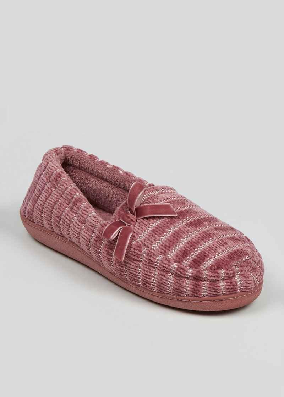 Pink Velour Full Slippers