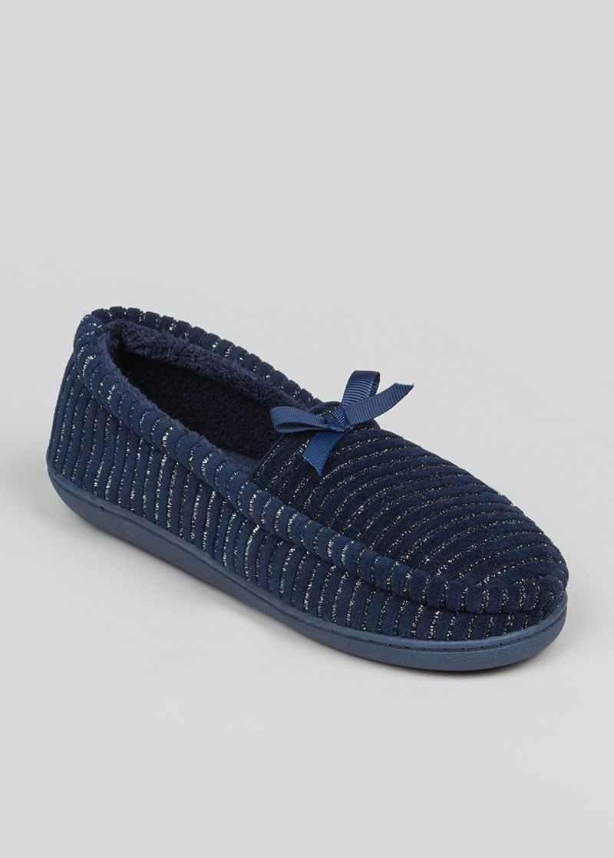 Navy Velour Full Slippers