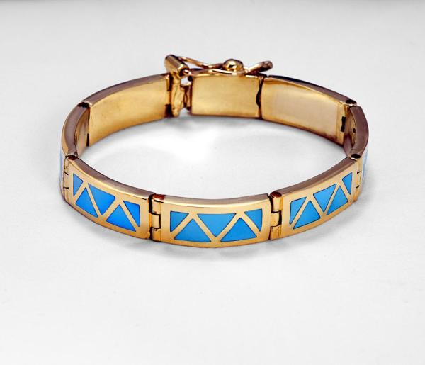 Gold and turquoise bracelet