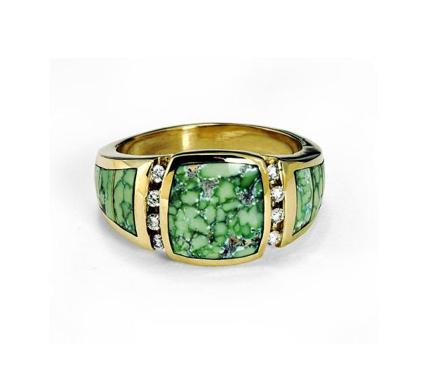 diamonds and turquoise in a men's ring