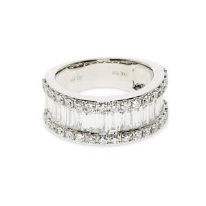 A medium width white gold band covered with diamonds
