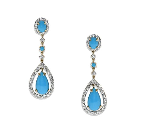 pendant earrings with turquoise and diamonds