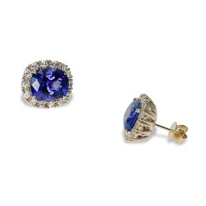 Gold Earrings With Diamonds and Tanzanite Gemstones