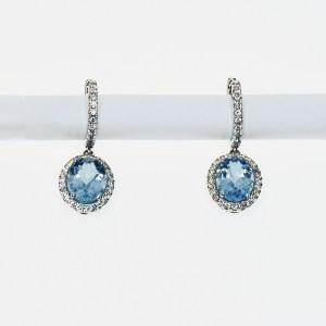 Gold Earrings With Diamonds and Aquamarine Gemstones