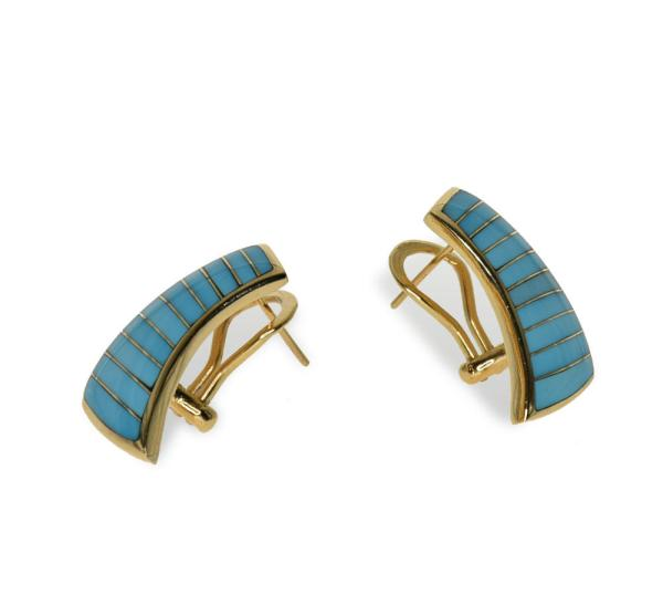 gold earring featuring Sleeping Beauty turquoise