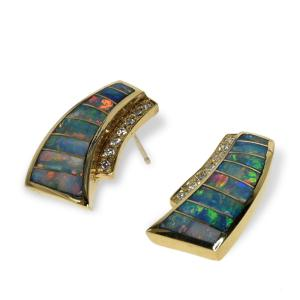 Gold earrings featuring diamonds and opal