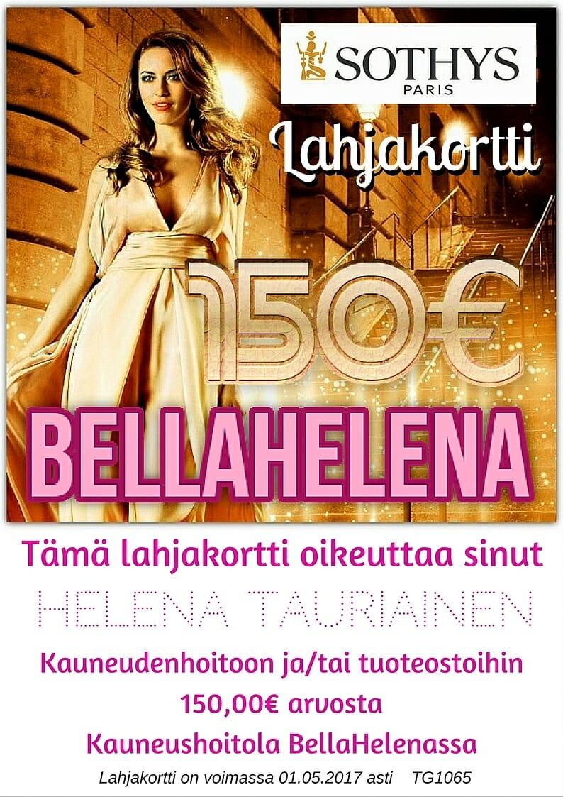 Kauneushoitola BellaHelena Lahjakortti 150€ Lahjansaaja Helena Tauriainen Oulu Finland