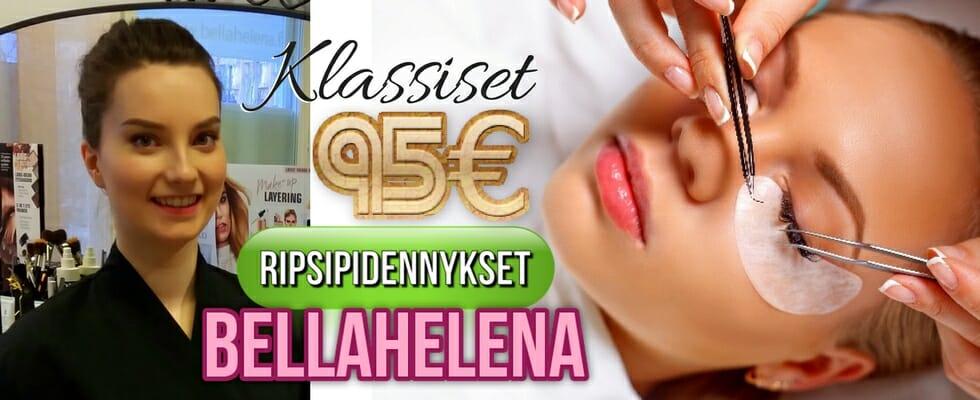 Klassiset Ripsipidennykset 95€ Kauneushoitola BellaHelena Oulu Kosmetologi Oona Tuhkanen