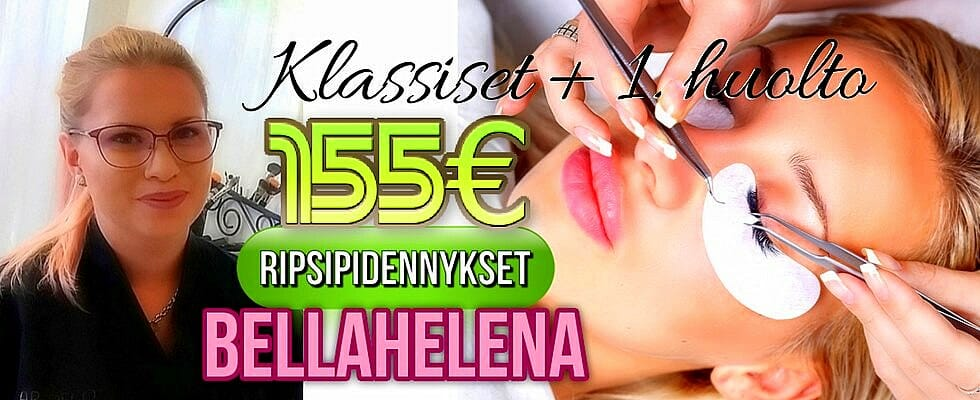 Klassiset Ripsipidennykset 155€ tarjous Kauneushoitola BellaHelena Oulu Janika Pakanen