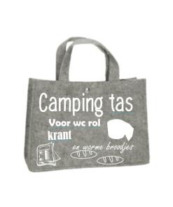 Camping tas - Boodschappen tas - Camperen - Kamperen - Boodschap doen - gepersonaliseerde shopper - Cadeau - Wc Rol - Krant - Brood