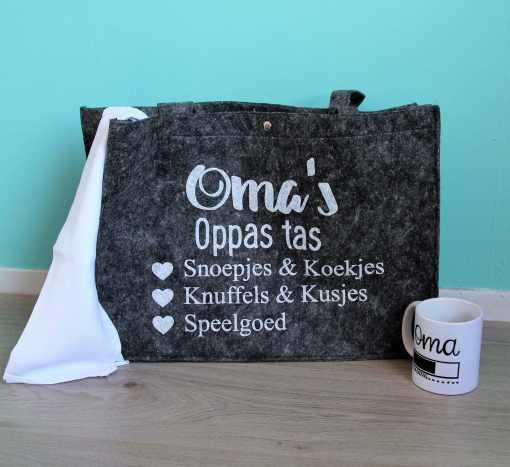 Oma's oppas tas - Boodschappen tas - Shopper - moederdag cadeau - Cadeau voor oma - Oma cadeau