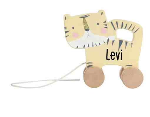 Little Dutch - Trekdier - Tijger - met naam - gepersonaliseerd - Geboorte cadeau - Naamcadeau - Naam kado - kado met naam - Houten speelgoed