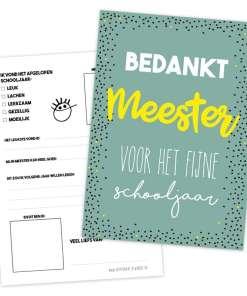 Meester invulkaart - einde school jaar cadeau, cadeau voor de meester - Meester cadeau - Cadeau meester - Einde schooljaar cadeau