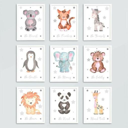 Kinderkamer decoratie - Dieren schilderijen - Baby Kamer accessoires - Canvas baby kamer