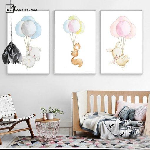 Canvas posters Baby dieren - kinderkamer decoratie