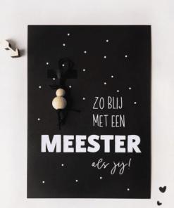 Zo blij met een meester als jij || Ansichtkaart + gelukspoppetje - Einde schooljaar cadeau - Cadeau meester - Cadeau voor de meester
