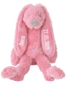 Tiny Deep Pink Rabbit Richie - Met naam - Gepersonaliseerd cadeau - Kraam cadeau met naam - Gepersonaliseerd geboorte cadeau