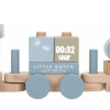 Little Dutch blokkentrein- Ocean Blue - Gepersonaliseerd- Gepersonaliseerd met geboorte gegevens - kraam cadeau - geboorte cadeau