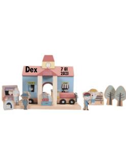 Little dutch Railway treinstation - met naam - Kraam cadeau - naam cadeau - Little dutch met naam - Gepersonaliseerd cadeau - Geboorte cadeau