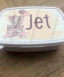 Broodtrommel - gepersonaliseerd met naam- Olifant - lunchen op school - Brood trommel gepersonaliseerd - continurooster - Bella Kids