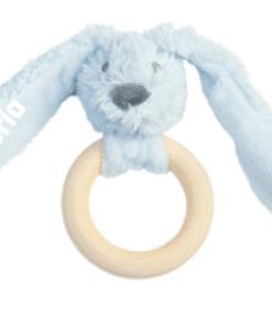 Happy Horse - Blue Rabbit Richie Teething Ring | Bijt ring - Gepersonaliseerd kraamcadeau - Geboorte cadeau met naam - Naam cadeau