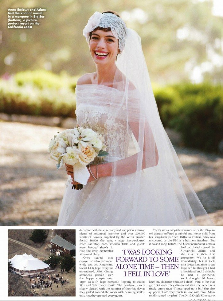 Hollywood Princess Anne Hathaway  Adam Shulmans Wedding  All the Details on her Valentino