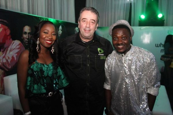 [L-R] Dolu, Francesco Angelone (Chief Marketing Officer, Etisalat Nigeria) & K-Peace