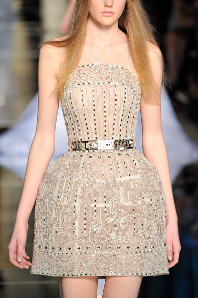 PARIS, FRANCE - JANUARY 27: A model, fashion detail, walks the runway during the Zuhair Murad Haute Couture Spring Summer 2016 show as part of Paris Fashion Week on January 27, 2016 in Paris, France. (Photo by Kristy Sparow/Getty Images)