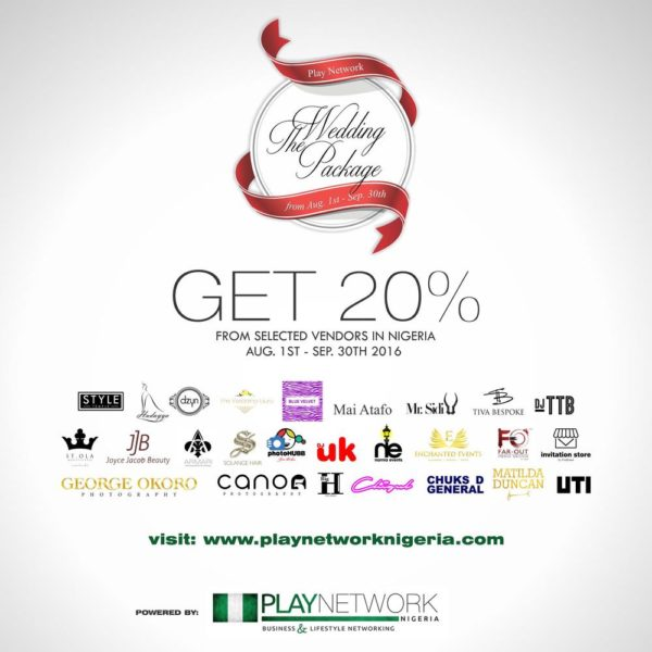 the play network wedding package gives you 20 discount on the best wedding vendors bellanaija