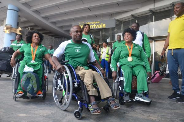 PIC 11. TEAM NIGERIA AT THE JUST CONCLUDED RIO PARALYMPIC GAMES ARRIVING THE AT THE NNAMDI AZIKWE INTERNATIONAL AIRPORT IN ABUJA ON SUNDAY (18/9/16). 6924/18/9/16/TA/ICE/NAN