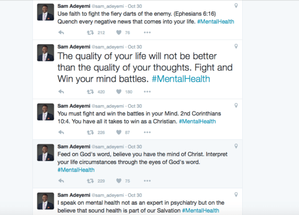Pastor Sam's Mental Health Tweets