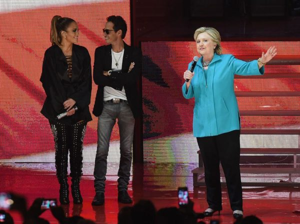 MIAMI, FL - OCTOBER 29: Jennifer Lopez, Marc Anthony and Hillary Clinton are seen at the Jennifer Lopez Gets Loud for Hillary Clinton on October 29, 2016 in Miami, Florida. (Photo by Gustavo Caballero/Getty Images)