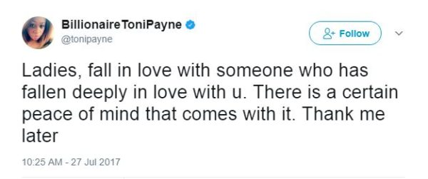 Toni Payne hints at finding Love again in series of Tweets