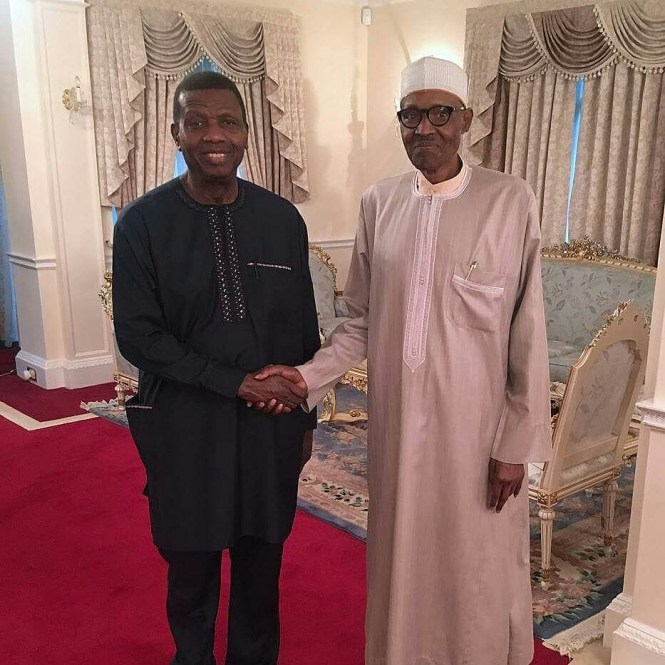 Pastor Adeboye visits President Buhari in London | Photos