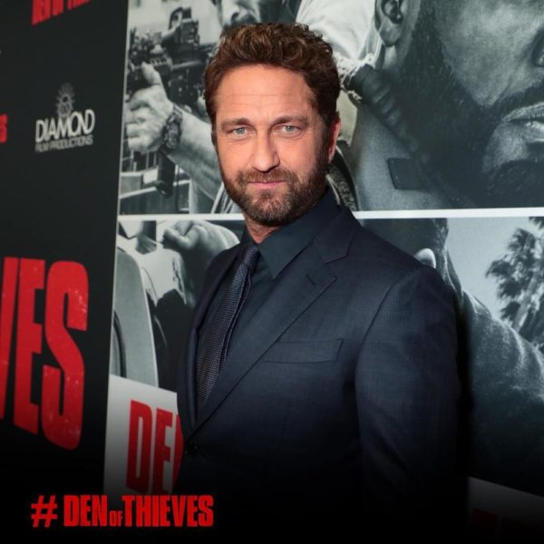 Gerard Butler, 50 Cent & Son at the Premiere of Movie 'Den