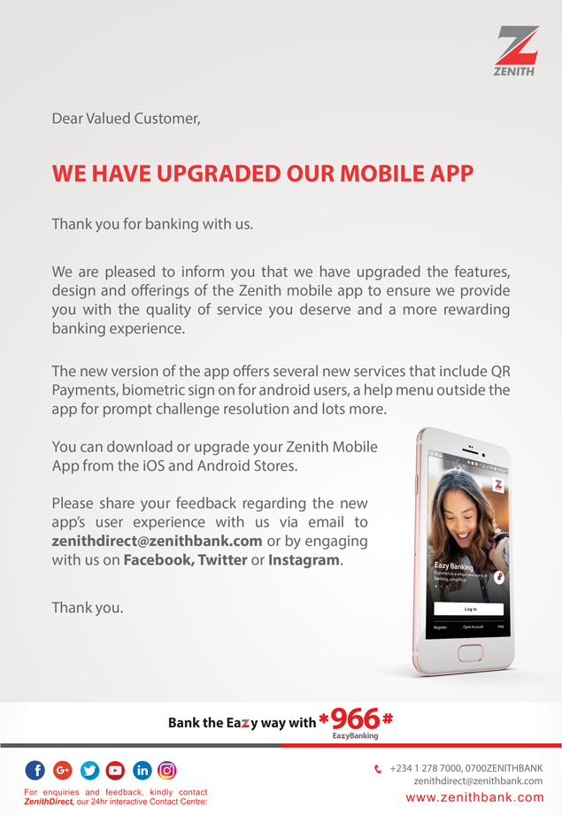 Zenith Bank upgrades Mobile App to suit Customer's Lifestyle