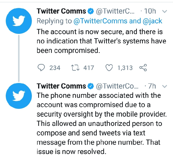 Twitter releases Statement on CEO Jack Dorsey's Account Hacking