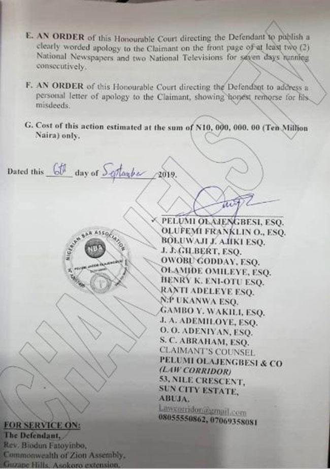 Channels Information: Busola Dakolo Demands an Apology and 10 Million Naira from Biodun Fatoyinbo