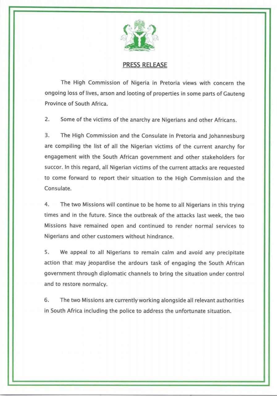 Nigerian High Commission in South Africa releases Statement on Xenophobic Attacks