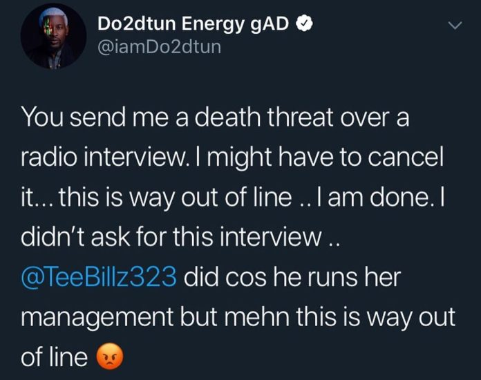 OAP Do2dtun says He's Acquired Demise Threats after asserting Upcoming Interview with #BBNaija's Tacha