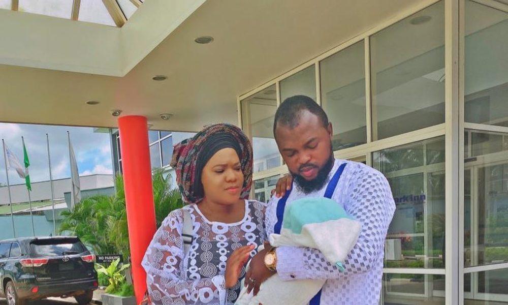 Child Ire Goes to Church! Toyin Abraham & Kolawole Ajeyemi Dedicate Son