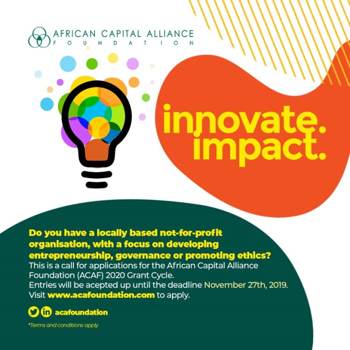 Here's a Chance to Apply for African Capital Alliance Foundation's 2020 Grant Cycle