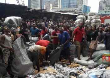 Fire Guts Section of Popular Balogun Market in Lagos